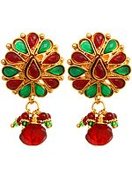 Faux Ruby and Emerald Earrings