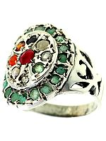 Navaratna Ring with Emerald Border