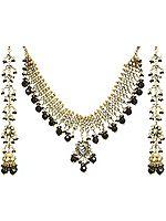 Jet Black Kundan Beaded Necklace Set with Earrings