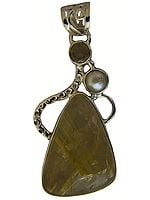 Rutilated Quartz Pendant with Pearl and Faceted Lemon Topaz