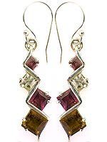 Faceted Square-Shape Tourmaline Earrings