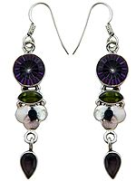 Mystic Topaz Earrings with Faceted Peridot and Garnet