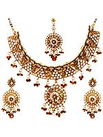 Faux Ruby Necklace Set with Mang Tika