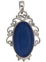 Blue Chalcedony Circular Pendant