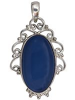 Blue Chalcedony Oval Pendant