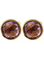 Faceted Amethyst Gold Plated Tops