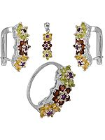 Faceted Gemstone Floral Pendant with Earrings and Ring Set (Faceted Citrine, Garnet and Peridot)