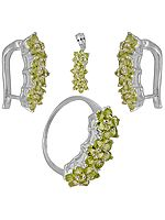 Faceted Peridot Pendant, Earrings and Ring Set