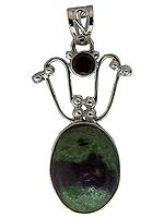 Ruby Zoisite Pendant with Garnet