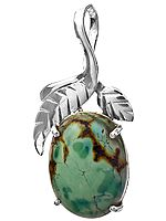 Turquoise Oval Pendant with Sterling Leaves