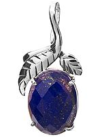 Faceted Lapis Lazuli Pendant with Sterling Leaves