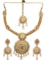 Faux Pearl Necklace Set with Mang Tika