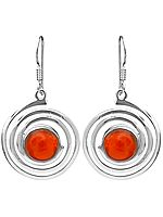 Carnelian Spiral Earrings
