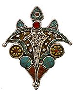 Coral and Turquoise Afghani Pendant with Auspicious