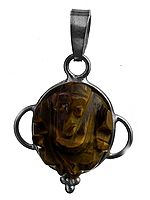 Lord Ganesha Pendant (Carved in Iron Tiger Eye)
