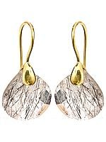 Tourmalinated Quartz Gold plated Earrings