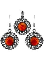 Faceted Carnelian Flower Pendant with Earrings Set