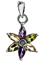 Faceted Triple Gemstone Flower Pendant (Amethyst, Peridot and Citrine)