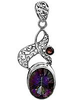 Mystic Topaz Pendant with Faceted Garnet