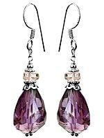 Faceted Amethyst with Crystal Earrings