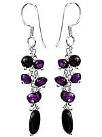 Black Onyx and Amethyst Shower Earrings