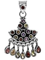 Faceted Gemstone Pendant (Garnet, Amethyst, Peridot, Citrine and Iolite)