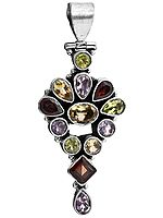 Faceted Gemstone Pendant (Garnet, Amethyst, Peridot, Citrine and Lemon Topaz)