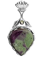 Ruby Zoisite with Faceted Peridot Pendant