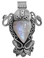 Rainbow Moonstone Serpent Pendant