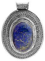 Lapis Lazuli Pendant with Filigree Border