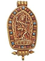 Yogini Vajravarahi Gold Plated Gau Box Pendant with Turquoise and Coral Gold