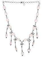 Faceted Rose Quartz Chandelier Necklace