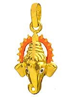 Ganesha Face Pendant with Enamelled Prabhamandala