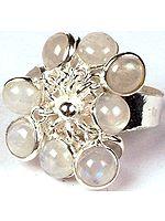 Rainbow Moonstone Bunch Ring