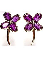 A Pair of Fine Cut Amethyst Butterflies (Post Earrings)