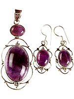 Amethyst Oval Pendant and Earrings Set