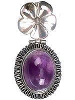Amethyst Oval Pendant with Filigree and Flower Bale