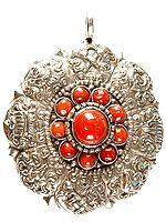 Ashtamangala Pendant with Coral Dharma Chakra