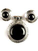 Black Onyx Pendant with Earrings Set