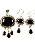 Black Onyx Pendant with Earrings Set