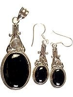 Black Onyx Pendant with Matching Earrings