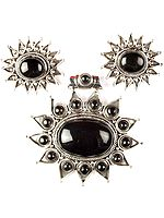 Black Onyx Star Pendant with Earrings Set