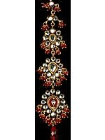 Bridal Kundan Tika with Scarlet Cut Glass Beads (Forehead Ornament)
