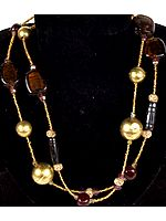 Brown and Golden Beaded Necklace