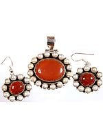 Carnelian and Pearl Pendant with Matching Earrings Set