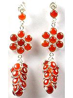 Carnelian Bunch Earrings with Flower