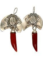 Carnelian Claw Earrings with Apsara (Nymph)