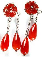 Carnelian Dangling Earrings with Carved Flowers
