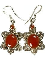 Carnelian Earrings with Spiral