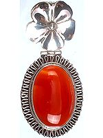 Carnelian Oval Pendant with Flower Bale